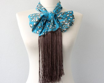 SALE 50 % off Fringe scarf blue scarf skinny cotton scarf bohemian scarf boho fashion accessories unique gift idea for her bridesmaids gifts