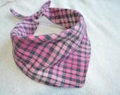 Pink and Black Plaid Baby Dribble Bandana Scarf