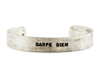 Silver Bracelet Cuff Mens Line Bangle By Carpediemjewellery