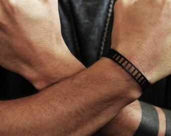 Mens Matte Black Cuff Bars Bracelet Bangle Jewelry