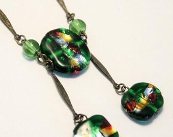 Vintage Venetian glass bead necklace. Gold foil necklace. Green glass necklace