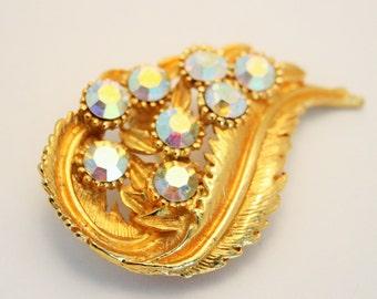 Vintage brooch. Aurora borealis crystal brooch