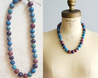 70s Beaded Necklace - Vintage 1970s Statement Necklace - St Croix Necklace