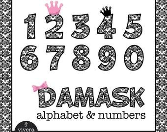 Black White Damask Patterned Letters and Numbers Clip Art and additional Pink Bow, Pink Crown and Black Crown