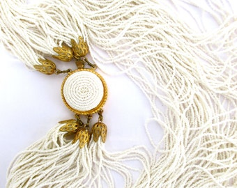 Vintage Necklace White Mini Seed Beads Italy Delicate Chic Italien Design 1950 50s 1960 60s Midcentury