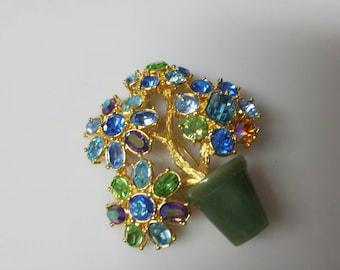 Joan Rivers Blue floral brooch