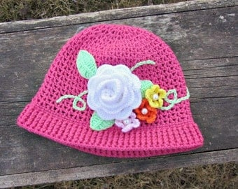 Crochet Spring Flower Cloche Kids Sizes