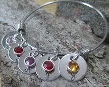 Adjustable Bangle Bracelet w/ Name's / Stainless Steel Discs Swarovski Crystals Famous Alex Style