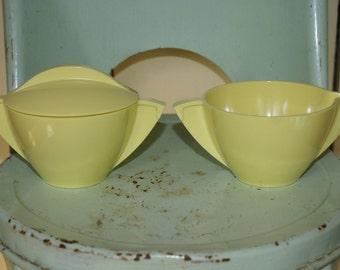 Vintage Yellow Melamine sugar and creamer set