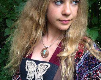 clay  NECKLACE, zen necklace, mixed media necklace, raw emerald pendant,earthy necklace,hippy necklace, namaste necklace neutral  Zasra