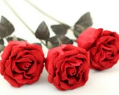 Red leather rose 3 bud bouquet third Anniversary wedding gift Long Stem leather Flower Valentine's Day 3rd Leather Anniversary Mother's Day