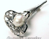 Costume Brooch, Filigree Flower Brooch, 925 Sterling Silver, Natural Pearl Bridal Jewelry, Friendship Days