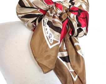 Vintage Oscar De La Renta Scarf // 1960's 70s Designer Red Floral Print Silk Scarf // Hand Rolled Edges