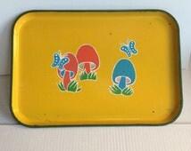 70's Vintage Mushroom/ Butterfly Serving Tray!