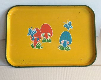 70's Vintage Mushroom/ Butterfly Serving Tray!