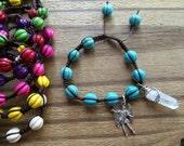 Archangel and crystal point macrame bracelet, adjustable arch angel Michael  beaded bracelet