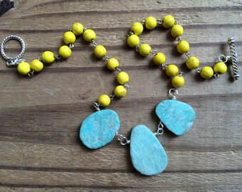 Amazonite beaded necklace, yellow and blue stone necklace, summer jewelry