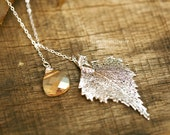 Sterling silver birch Leaf Swarovski Gold champagne sterling silver lariat necklace ,Bridesmaid gifts,Fall Autumn Wedding