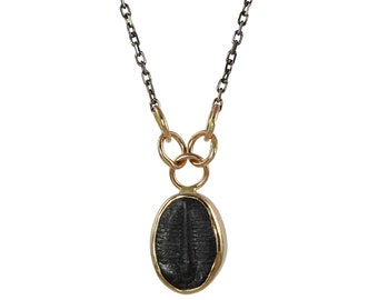 SAMPLE SALE - Trilobite Necklace in Recycled 14k Gold and Oxidized Silver - Fossil, Mixed Metals, Artifact, Ocean, Pendant, Charm