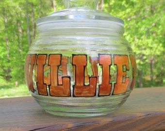 "Medical Marijuana Pot Glass Canning Storage Jar ""Willie's Finest"" Sealing Lid"