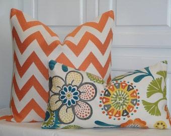 Decorative Pillow Cover - Suzani - Throw Pillow - Accent Pillow - Olive Green - Teal - Yellow - Orange - Lumbar Pillow