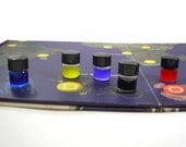 Pandemic Board Game Cure Vials, Laboratory glass with black lids