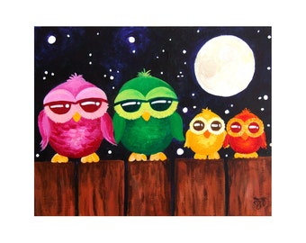 Colorful Owls On A Fence, 10x8 Childrens Wall Art PRINT, Nursery Wall Art for Kids