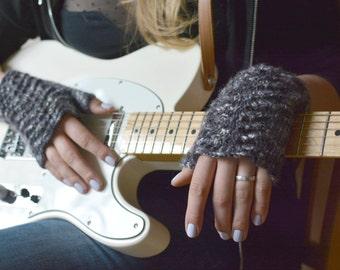 Gray fingerless gloves knitted white gray black wrist warmers gift for musician