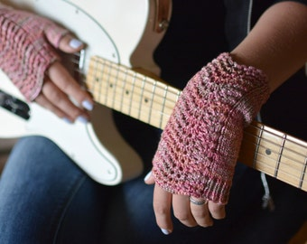 Pink fingerless gloves musician's gloves knitted lace wrist warmers women's pulse warmers