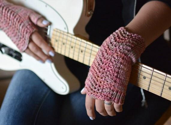 Pink fingerless gloves musician's gloves knitted lace wrist warmers women's pulse warmers