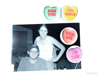 """Conversation Heart Candy Magnets - 1.5"""" Magnet Set - Valentine's Day Candy - Sweet Hearts - Heart Magnets - Love You Magnets"""