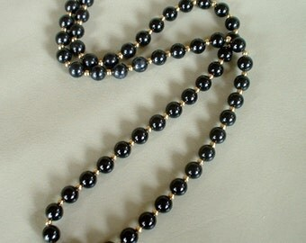 Vintage MONET Necklace 1970 Tagged Black & Gold Beaded Classic