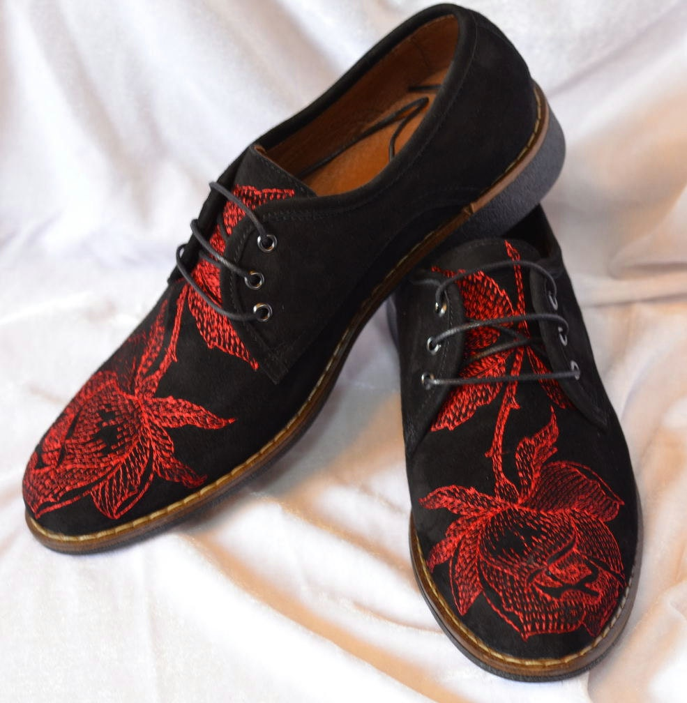 SALE Men Oxford shoes Embroidery Oxford shoes Black leather