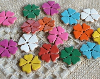 16 Leather Flowers 14x14mm Mixed Colors Die Cuts Jewelry Supplies