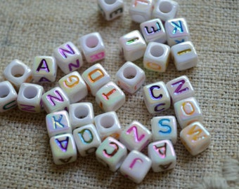 100pcs Acrylic Bead Alphabet Letters Opaque White AB 6mm Cube Beads