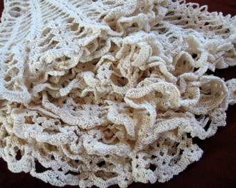 4 Large Crocheted Table Centerpieces Lacy Round Doilies