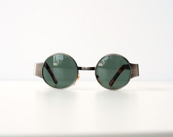 Vintage 80s 90s Steam Punk Metal Small Circle Tortoise Brushed Metal Silver Sunglasses