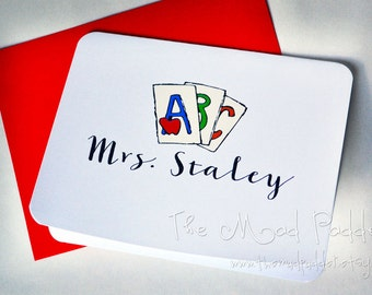 School Days Note Cards - Custom Made Set of 10 With Envelopes
