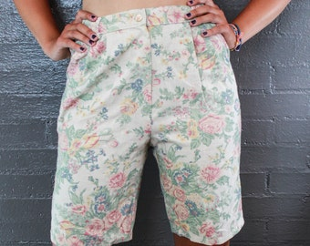 Vintage 80s Floral High Rise Shorts by Jantzen