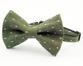 Cat Bow Tie Collar Green Denim Dot