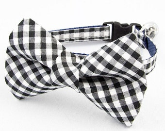 Black Gingham Bow Tie Cat Collar