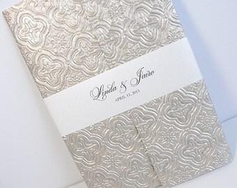 Wedding Invitation, Wedding Invite, Unique Invitation, Indian Invitation, Embossed Invitation, Pewter Invitation, SARAHIE-25