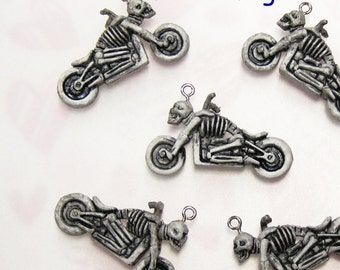 5 Creepy Devil Skeleton Motorcyclist on Motorbike Plastic Charms