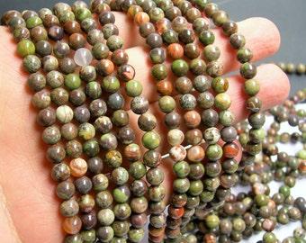Rainforest jasper - 6 mm round beads -1 full strand - 65 beads - Rhyolite rainforest - A Quality - RFG279