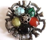 Signed Miracle Scottish Brooch... Multi Color Glass and Thistle