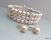 Bridal Pearl Bracelet Earrings Set Ivory Swarovski Pearls Bridal Classic Bracelet Set Bridesmaid Bracelet Wedding Pearl Bracelet Set ALMA