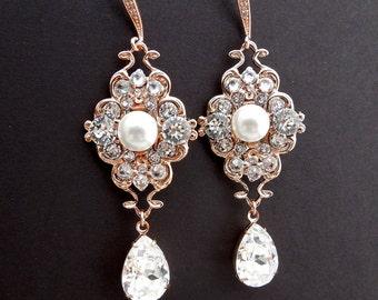 Pearl Earrings Bridal Earrings Ivory swarovski Pearls Pearl Rhinestone Earrings Bridal Pearl Earrings Rose Gold Rhinestone Earrings CLAUDE