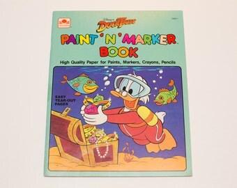UNUSED Duck Tales Cartoon Paint 'N' Marker Coloring Book, Vintage 80s