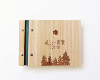 Wedding Guest Book. Wedding Album. Wood Wedding Guestbook. Engagement Gift : moonlight fir trees