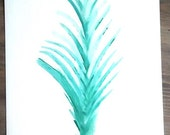 """Original Watercolor painting 11x14   """"Branch"""" Semi-Abstract watercolor painting   Fine Art, Plant Organic Art, Turquoise"""